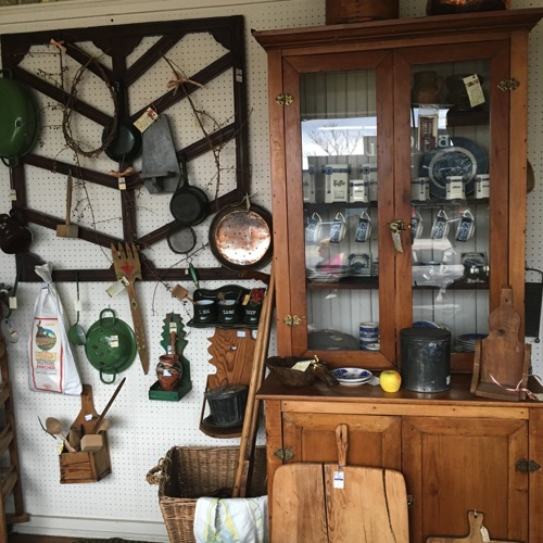 Enamelware, Primitive Candle Shelves, Cup Rack and Pine Hutch