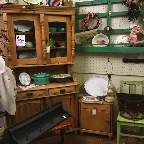 Stripped Pine Kitchen Cabinet and Plate & Cup Rack in original Green Paint